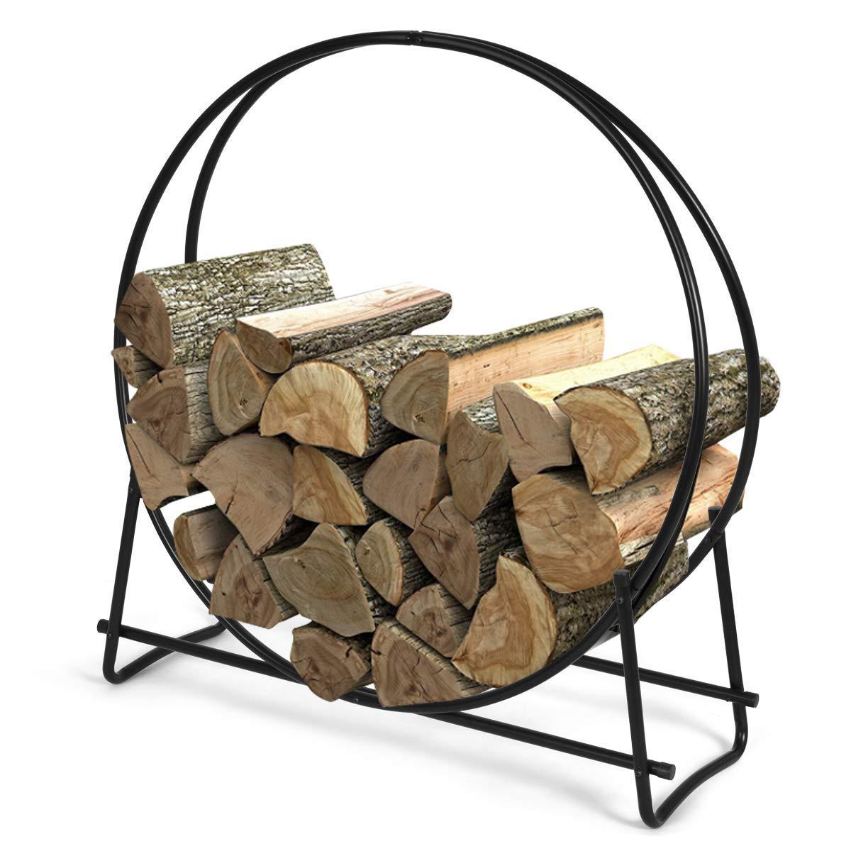 Goplus Firewood Log Hoop, Tubular Steel Wood Storage Rack Holder for Indoor & Outdoor Fireplace Pit (41 inch) by Goplus