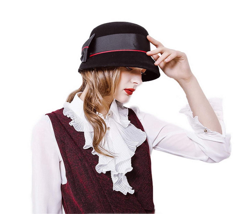 ebe57cba9 Fancyland Bowknot Cloche Hat for Women Felt Cloche Hat Bowler Hats ...