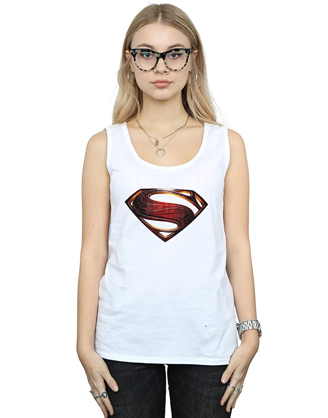 DC Comics Mujer Justice League Movie Superman Emblem Tank Top Small Blanco