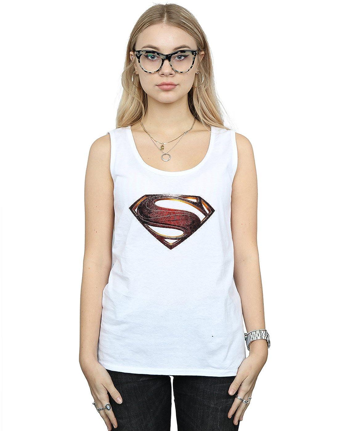 DC Comics Mujer Justice League Movie Superman Emblem Tank Top Small Blanco