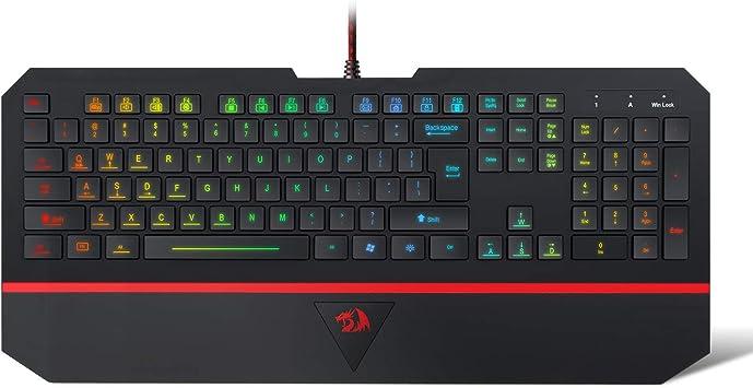 Redragon Teclado Gaming PC K502 Karura LED Teclado Iluminado con Retroiluminación 104 Teclado para Computadora Teclado para Juegos Silencioso con ...