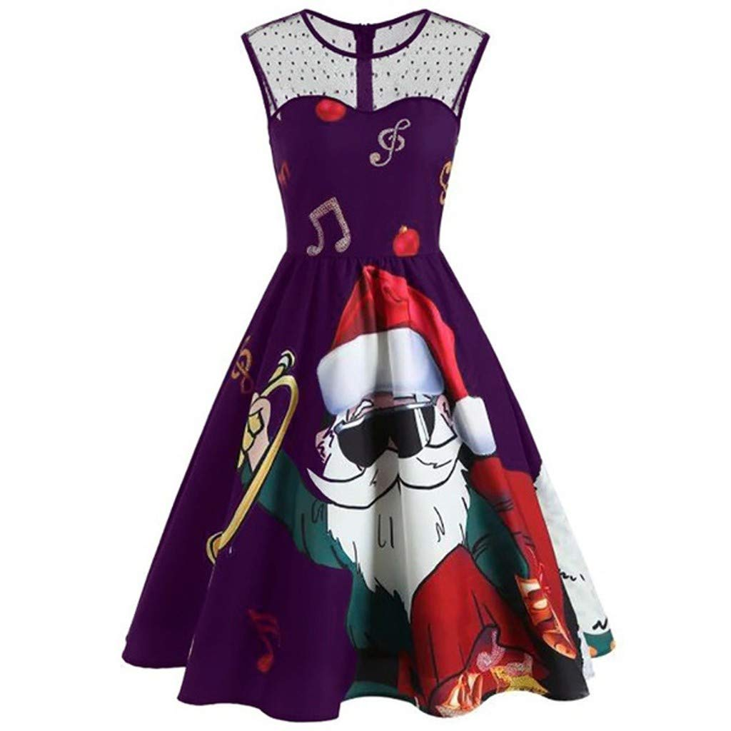 Women Lace Christmas Santa Claus Print Vintage Dress, Huazi2 O-Neck Cold Shoulder Plus Size A Line Dress by Huazi2