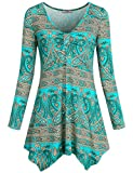 Cestyle Floral Printed Blouse Casual Tops, Women Long Sleeve Paisley Print Hipster Trapeze Flowy Hem Comfort Drape Tunic Top Green Medium
