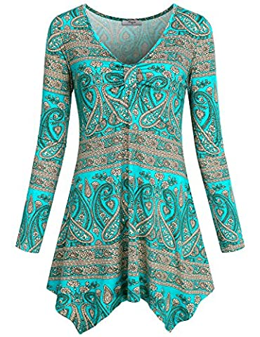 Paisley Shirt, Cestyle Womens V Neck Floral Pattern Swing Highwaist Pleated Front Handkerchief Hem Long Sleeve Tunic Tops Green - Maternity Print Tunic