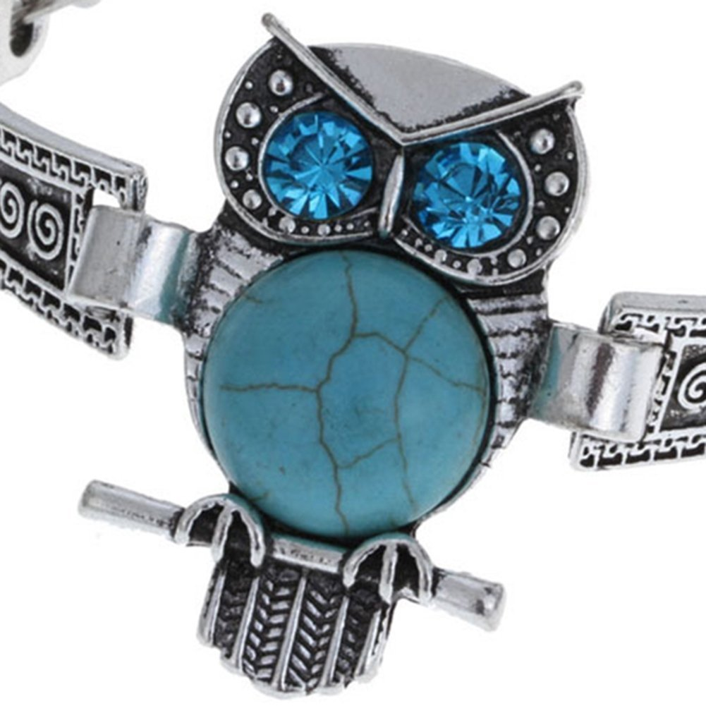 Babasee Stunning Owl Tibet Synthetic Turquoise Wide Cuff Bracelet Owl Vintage Bangle