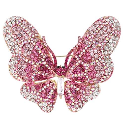 EVER FAITH Women's Austrian Crystal Butterfly Brooch Light Rose Gold-Tone (Stone Brooch 3)