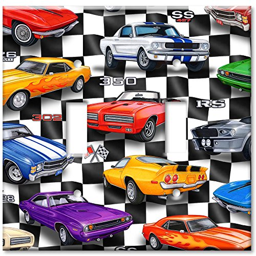 (Double Gang Toggle Wall Plate - Muscle Cars )