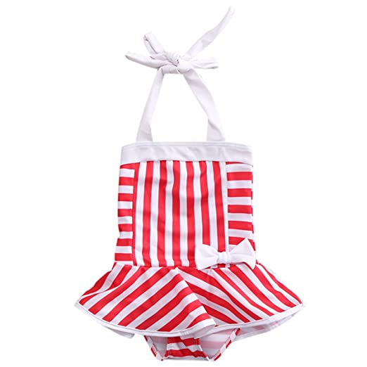 edd69f57ee Amazon.com  ITFABS Baby Girl Cute Striped Bikini Swimsuit Halter Swimwear  Bathing Suit Clothes  Clothing