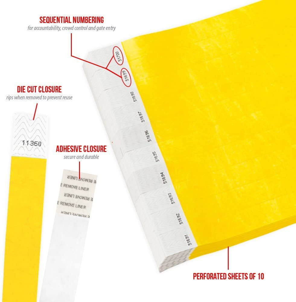 WristCo Pantone Yellow 3//4 Tyvek Wristbands 1000 Pack Paper Wristbands for Events