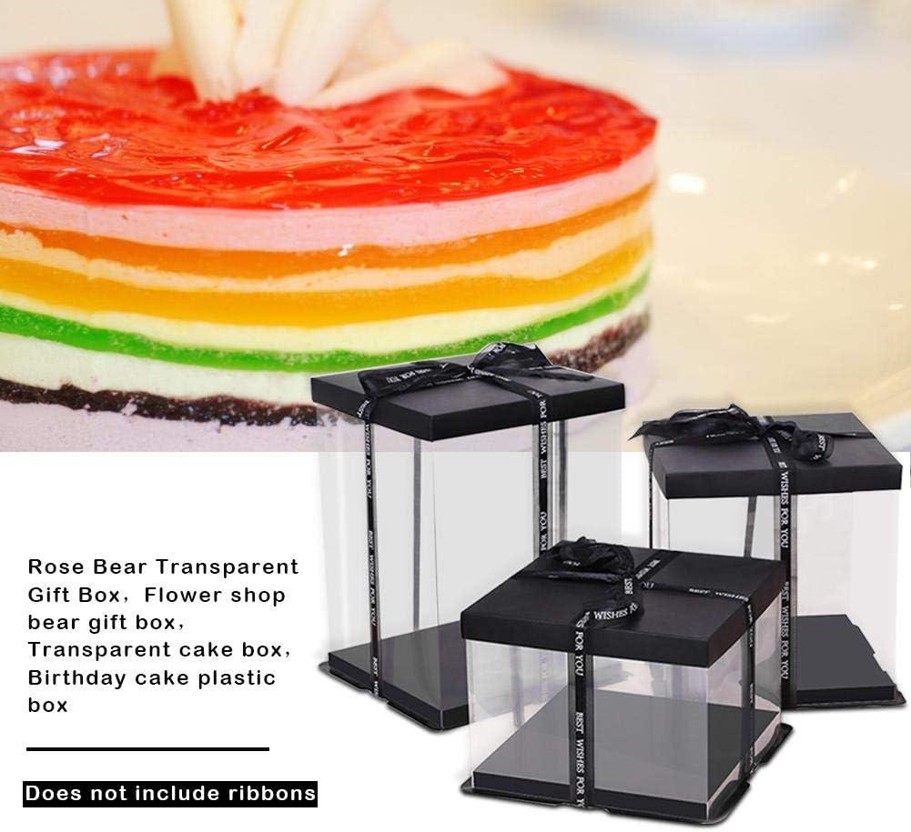 35CM Contenitore di Regalo in plastica Trasparente con Coperchio Nero e Base per Torta di Compleanno con Fiore di Orso Rosa 25CM 20CM 1 Pezzo Senza Nastro