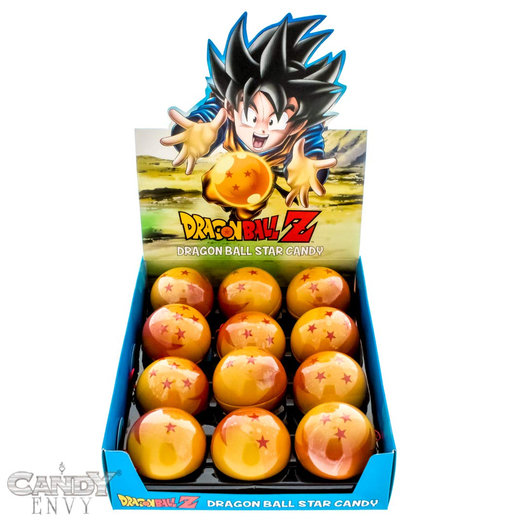 Dragon Ball Z Dragon Ball Candy Filled Tins - Sweet Red Star Shaped Candy - Includes ''How To Build a Candy Buffet'' Guide (12 Pack Display) by Candy Envy