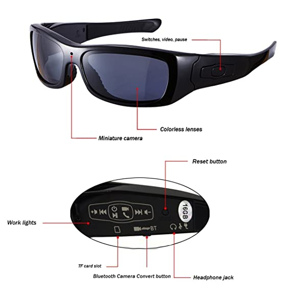 DCCN Espionaje Cámara Gafas Spy CAM Gafas polarizadas Gafas de Sol con cámara UV400 Stereo Bluetooth Headset Auriculares para iPhone/Android Teléfono Móvil ...