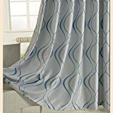 KoTing Blue Curtain For Living Room Blackout Geometric Living Room Window Curtain and Drape Grommet 1 Panel 84 inch long
