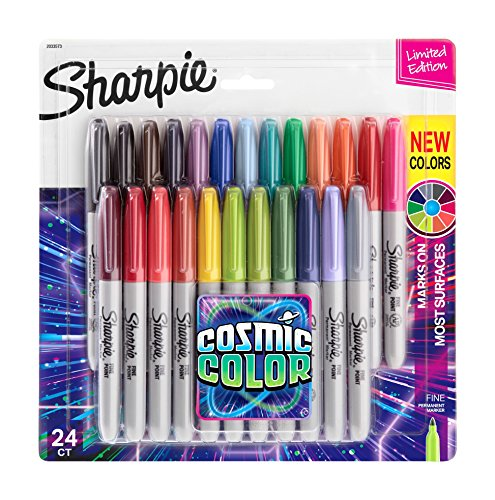 Sharpie Permanent Markers, Fine Point, Cosmic Color, Limited Edition, 24 Count by Sharpie