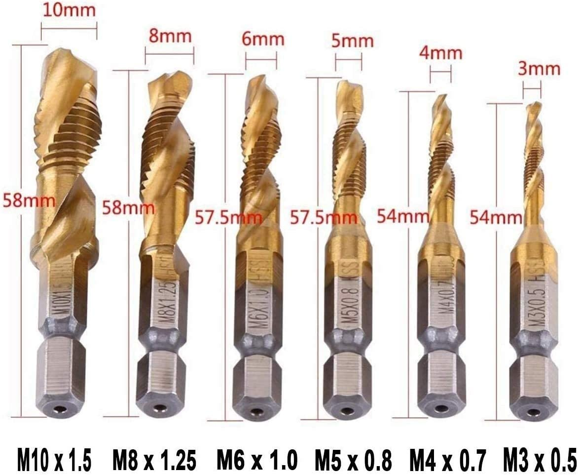 With Automatic Spring Loaded Center Punch Tool High Hardness 1//4 Inch HSS Spiral Hex Shank Combination Drill Screw Tap Bit Set M3-M10