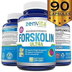Pure Forskolin Extract 600mg - 90 Capsules w/ 40% Standardized Forskolin, Non-GMO & Gluten Free, Appetite Suppressant, MAX Strength Belly Fat Burner, Carb Blocker, Weight Loss Supplement