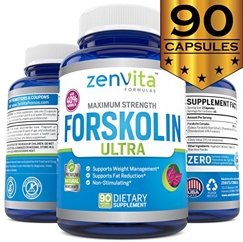 Pure Forskolin Extract 600mg - 90 Capsules w/ 40% Standardized Forskolin for Weight Loss, Non-GMO, Gluten Free, Max Strength Appetite Suppressant, Diet Pills That Work Fast for Women and Men