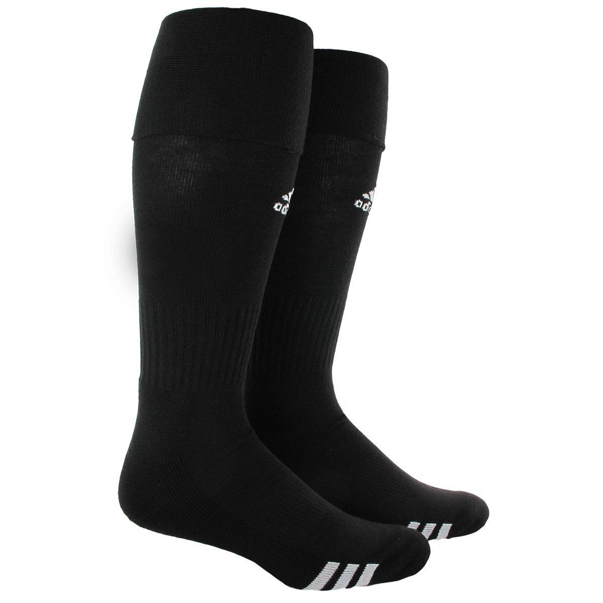 adidas Unisex Rivalry Soccer OTC Socks (2-Pack), Black/White, Medium