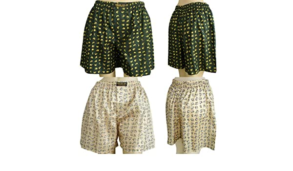 With Small Elephants Design Size 30-33 2 X Unisexs Thai Silk Boxer Shorts