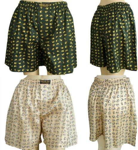 Thai Boxer Costume (2 x Men's Thai Silk Boxer Shorts- with Small Elephants Design)