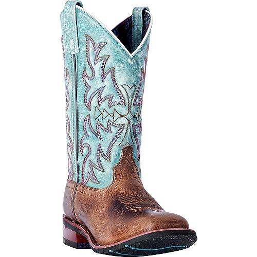 abca36527bd Laredo Women's Anita Brown/Blue Cowgirl Boot Square Toe