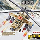 Kazi Building Blocks Ah-64a Apache Attack Helicopter Light Sound #84020 670 Pieces by KAZI
