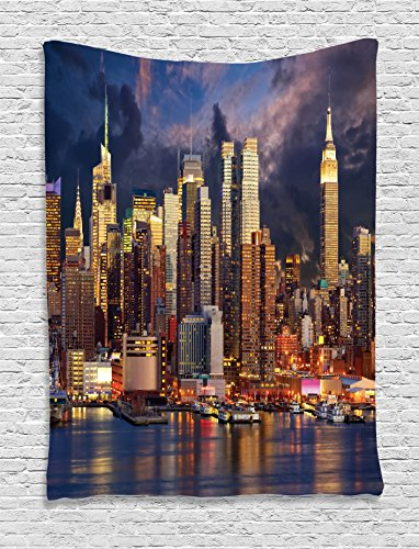 Ambesonne NYC Decor Collection, Manhattan Midtown Skyline At Twilight Over Hudson River Waterfront Landmark Scenery, Bedroom Living Room Dorm Wall Hanging Tapestry, Navy Orange (Living Collection)