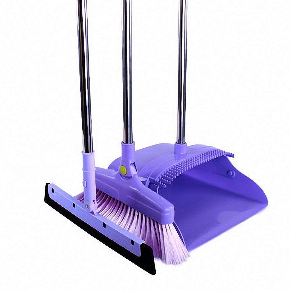 Nacled Upright Dustpan and Broom Combo Sets With Wiper water Plate Long Handled Sets for home office Industry Lobby floor Sweeping (Purple)