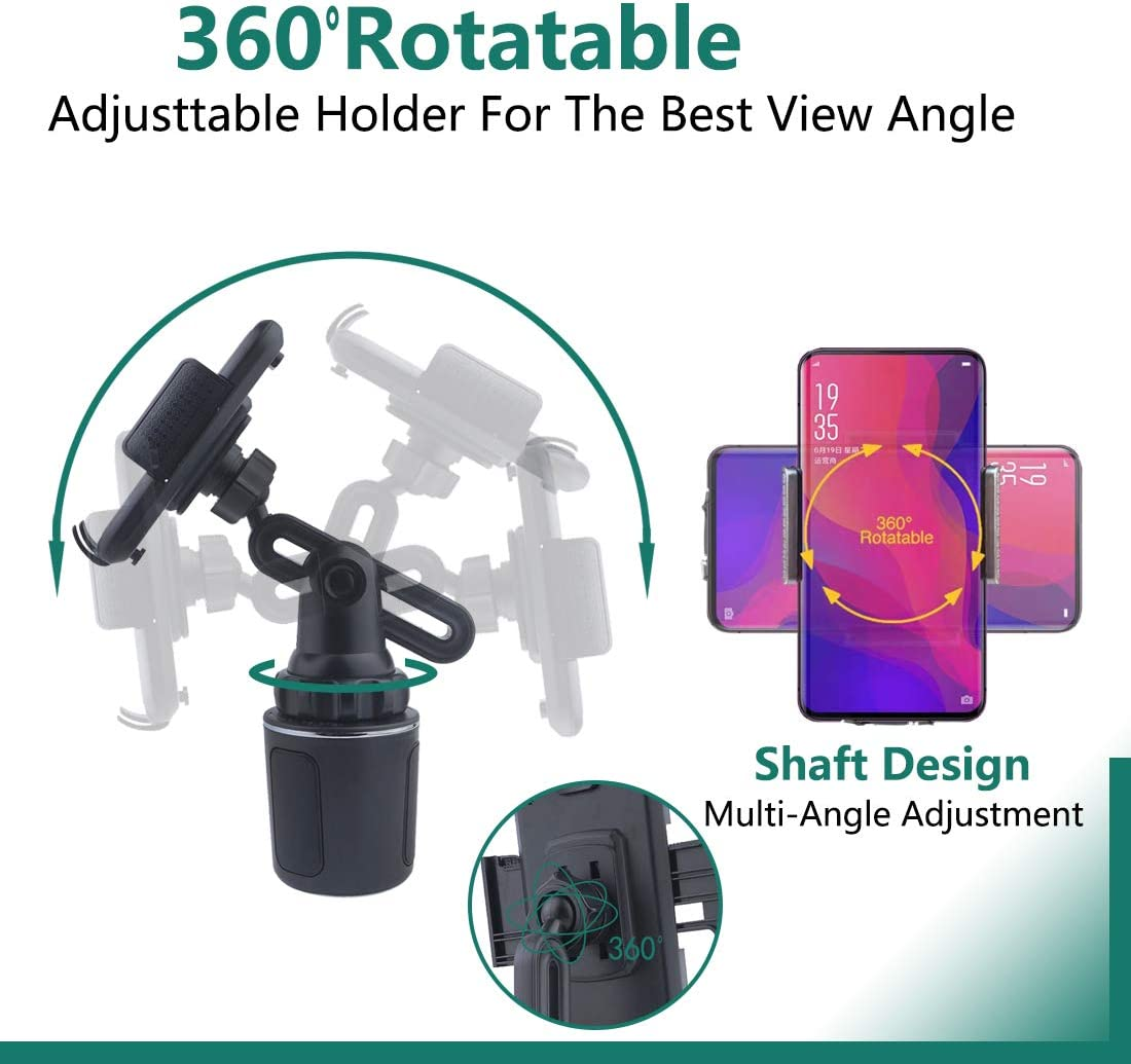 GENUIE Universal Adjustable Cell Phone Holder Cup Holder Cradle Kit Car Mount for iPhone 11 Pro//XR//XS Max//X//8//7 Plus//Samsung S10+//Note 9//S8 Plus//S7 EDG Upgrade Version Car Cup Holder Phone Mount