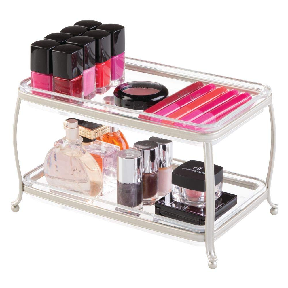 iDesign York Plastic Free-Standing Double Vanity Tray, 2-Shelves Storage for Countertops, Desks, Dressers, Bathroom, 10.5'' x 6.5'' x 6'' - Satin Silver and Clear