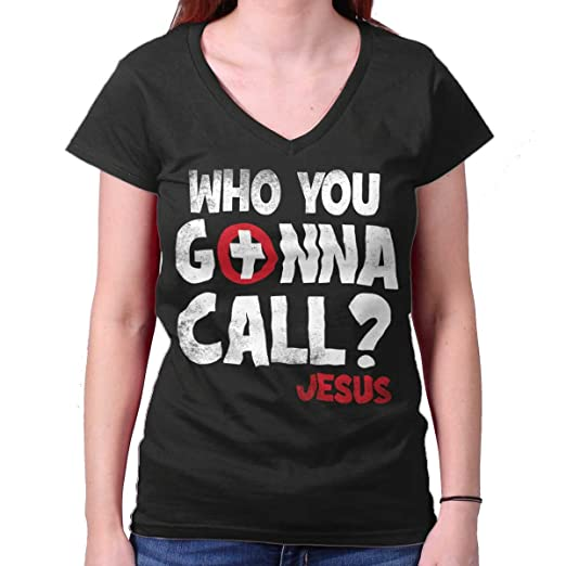 0f4433b674 Who You Gonna Call Jesus Christian Movie Junior Fit V-Neck T Shirt Black