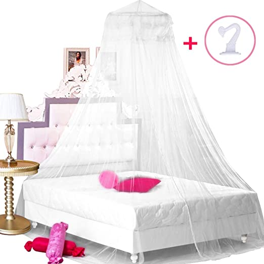 Jumbo Mosquito Net Bed Queen Canopy Curtain Lace Princess Netting Elegant White