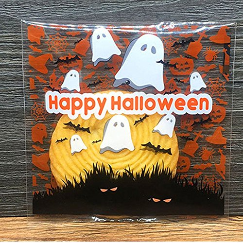 MACRHEE-- 100x Halloween Cellophane Party Cookies Sweet Candy Biscuit Gift Treat Trick (Simpsons Halloween Dvd Collection)