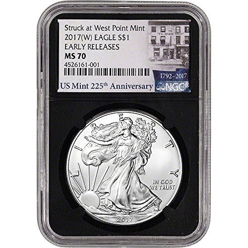 2017 (W) American Silver Eagle (1 oz) Early Releases 225th Anniversary Black $1 MS70 NGC