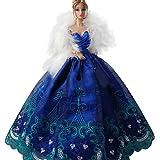 Creation® Elegante schöne Stickerei-Entwurfs-Hochzeit Abend-Partei-Kugel-Kleid für Barbie-Puppe-Blau