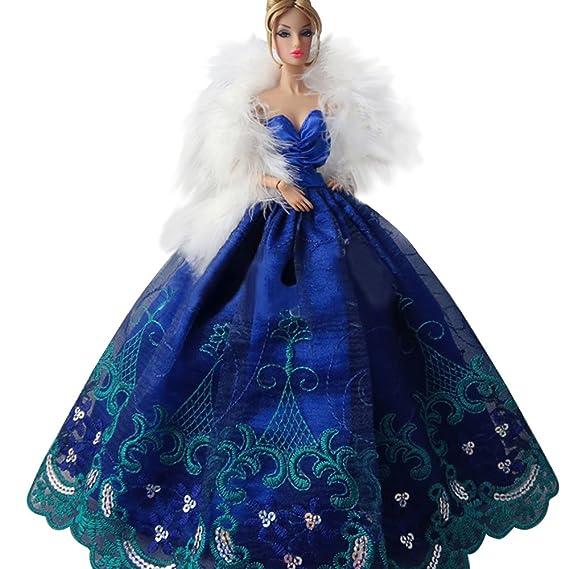 Amazon.es: Creation® vestido de bola elegante del diseño del partido de tarde de la boda del bordado hermoso de la muñeca de Barbie-Blue: Juguetes y juegos
