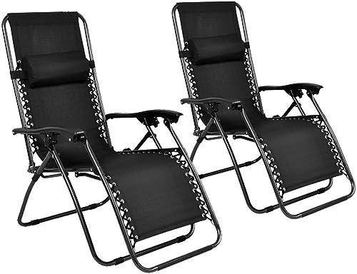 Generic YCUS150720-187 8 11811 n Blacknge Patio C Outdoor Yard 2PC Zero Gravity Chairs Beach Garden Black Case Lounge Patio Chairs Beach Garden Black 2PC Zero Gr