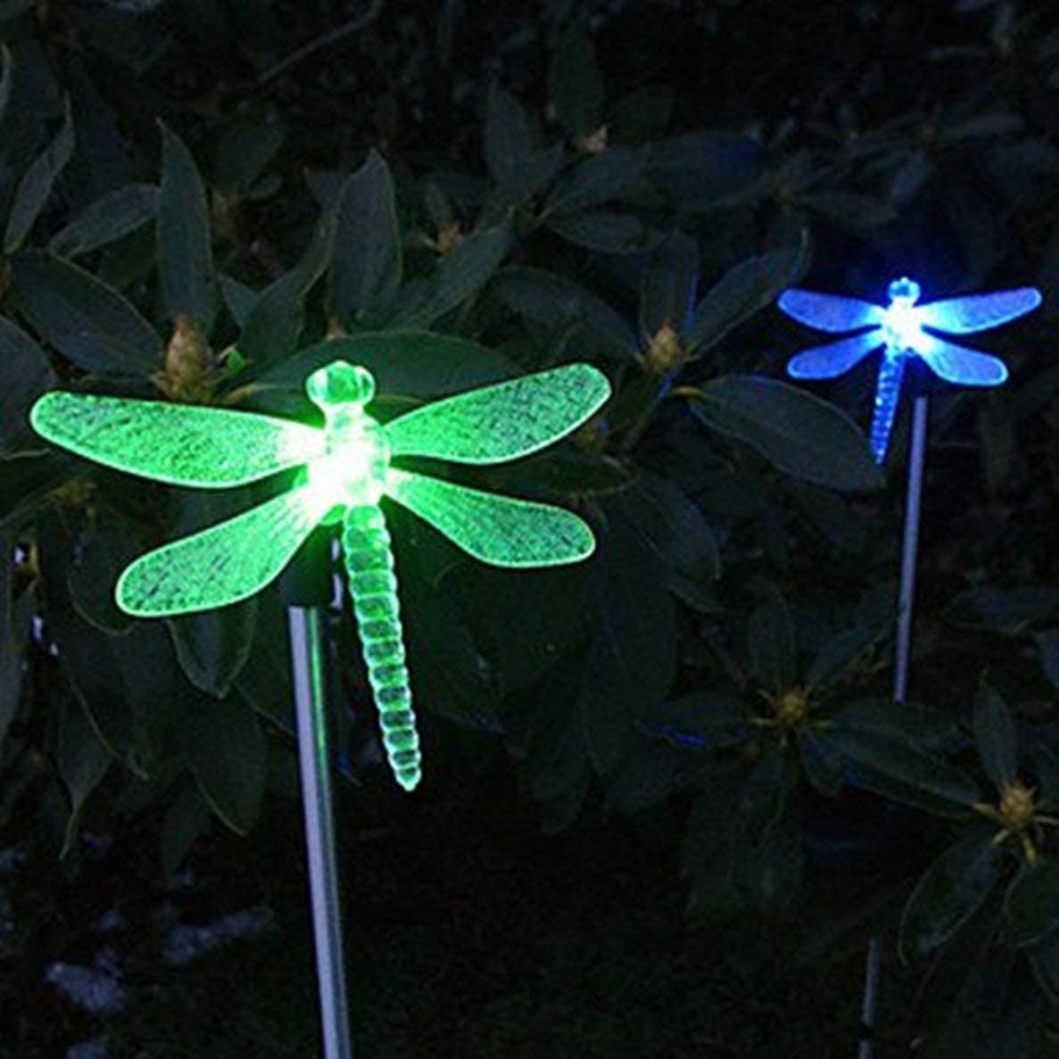 Exquisite Selebrity Set of 2 Dragonfly Clear Acrylic Solar Stake Light Garden Decorations Outdoor Yard Art Lawn Ornaments Patio Lights Stick Color Change LED Light