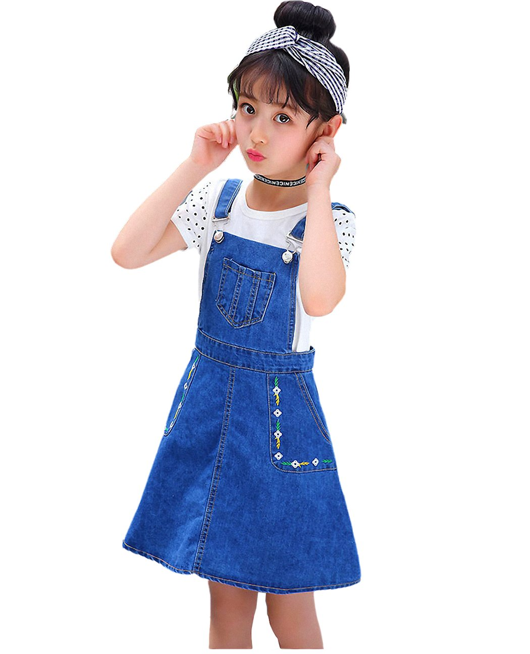 Kidscool Girls Big Bibs Small Flowers Decor Summer Jeans Overalls Dress,Blue,10-11 Years