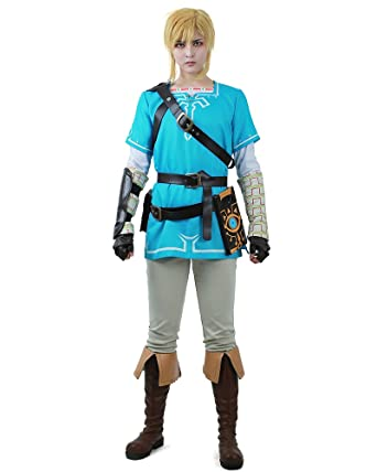 Amazon.com: Miccostumes Men\'s Zelda Breath Wild Link Cosplay Costume ...