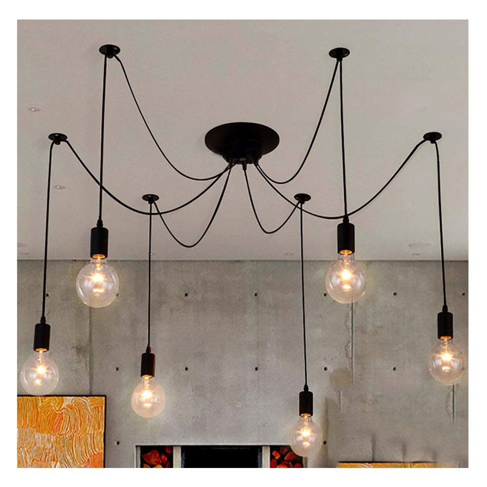 Navimc black vintage industrial pendant light fixtures home ceiling light chandeliers lighting edsion style 6 lampholders amazon com