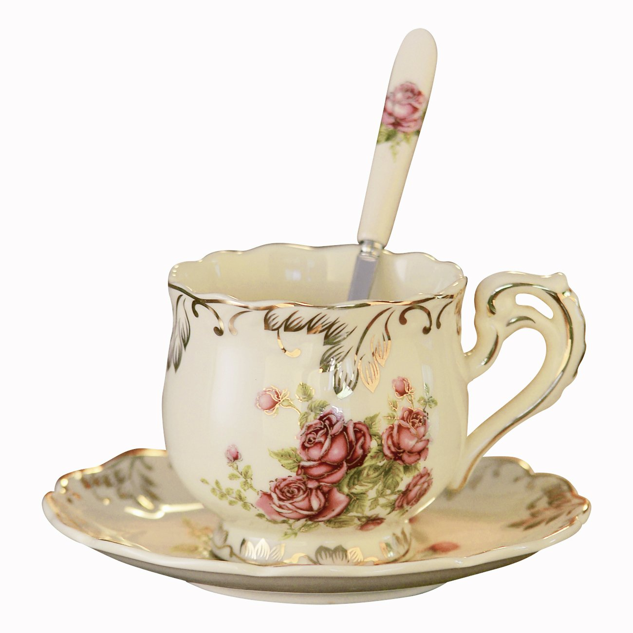 YOLIFE European Red Rose Pattern Ivory Ceramic Tea Cup and Saucer with Spoon,Vintage Single Cup with Saucer