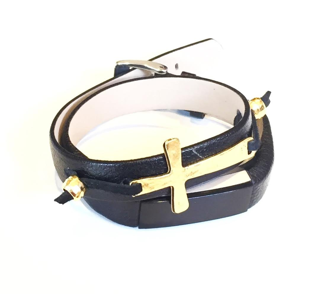 Black Double Wrapped Leather Bracelet with Gold Metal Cross for Fitbit Alta and Alta HR Smart Band
