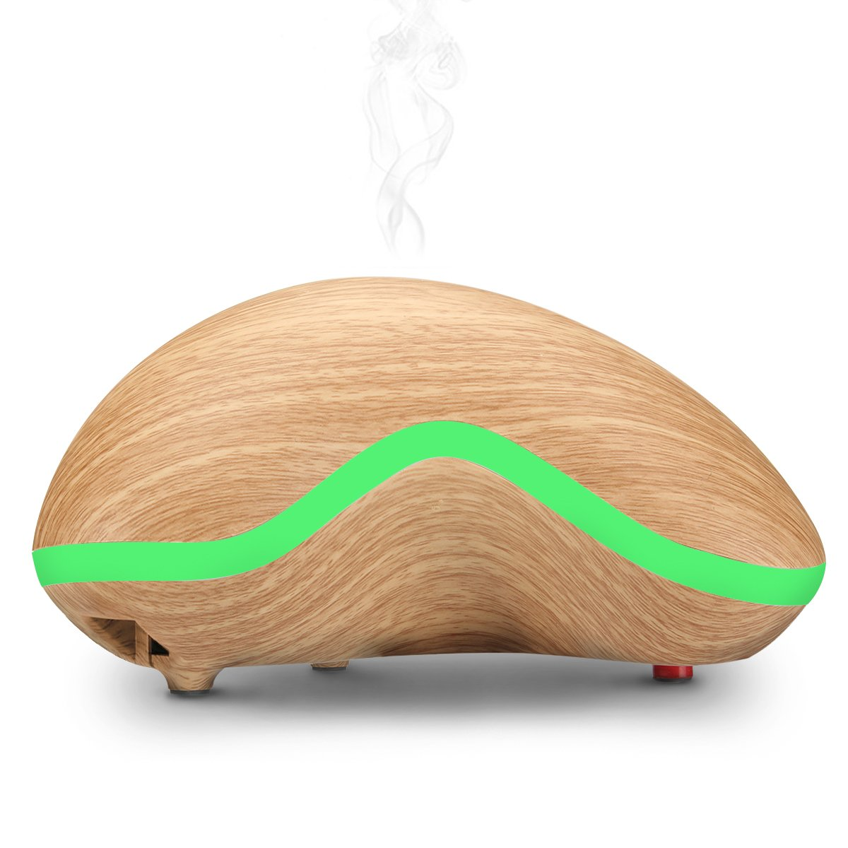 Essential Oil Diffuser,SGODDE 150ml Ultrasonic Aroma Humidifier with 7 Color LED Light for Office Home Bedroom Living Room Study Yoga Spa, Ultra-Silent,Wood Grain,Cashew Shape