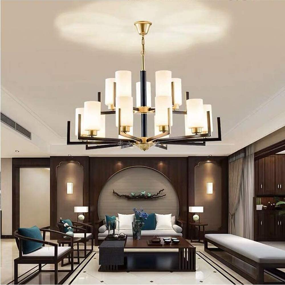Classical 15 Light Chandelier Antique Black Metal Wrought Hanging Light White Shades Glass Adjustable Chain 2 Tier Ceiling Lighting Fixture For Foyer Kitchen Dining Room Living Room Pendant Lam
