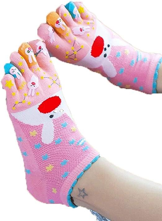 Yanqanr - Calcetines de algodón para Mujer con 5 Dedos ...
