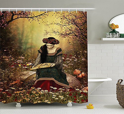 [Medieval Decor Collection Lady Sitting on A Stone and Reading Book Forest Flowers Grass and Trees Medieval Time Art Polyester Fabric Bathroom Shower Curtain] (The Music Man Costumes For Sale)