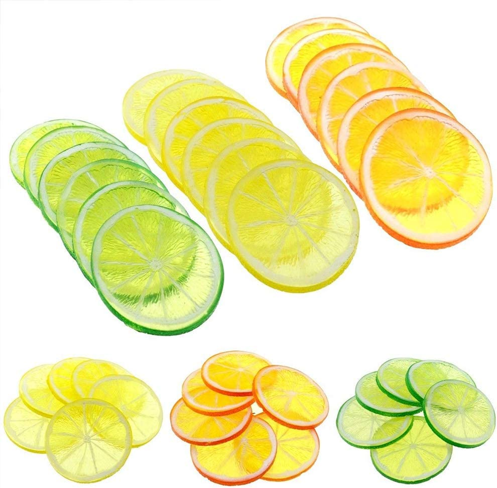 IETONE 30 Pieces Artificial Plastic Lemon Slices Realistic Simulation Lemon Lifelike Decorative Fake Fruit Wedding Ornament Festival Decoration Photography Props Basket Display Filler Fruit, 3 Colors