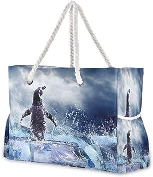 Hunihuni Bolsa de playa con asas de cuerda de algodón, cremallera superior, dos bolsillos exteriores: Amazon.es: Equipaje