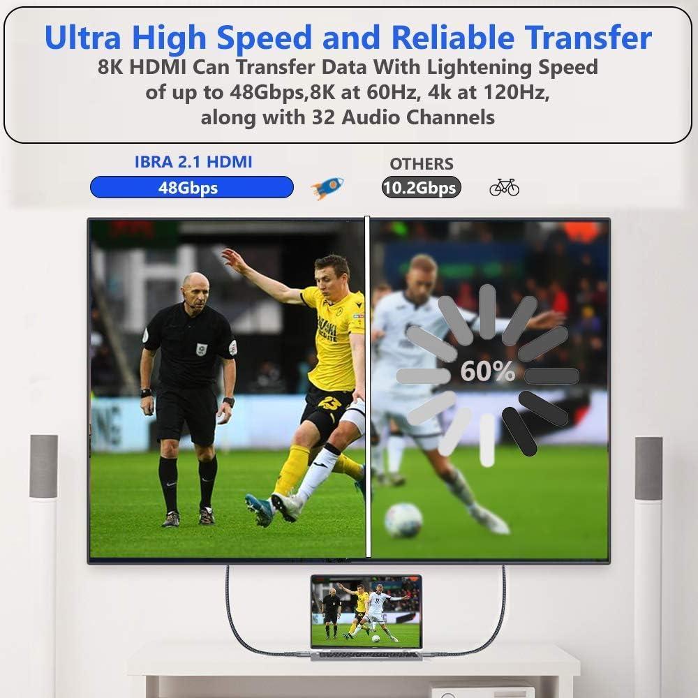 Cable IBRA 2.1 HDMI 8K Ultra Alta Velocidad 48Gbps de Plomo | Admite 8K@60HZ, 4K@120HZ, 4320p, Compatible con Fire TV, Soporte 3D, Función Ethernet, 8K UHD, 3D-Xbox Playstation PS3 PS4 PC: Amazon.es: